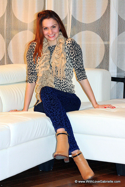 animal print Zara jeans - J Crew boots - animal print J Crew sweater