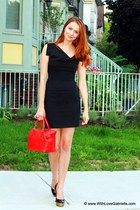 Black Halo dress - kate spade bag - Yves Saint Laurent heels