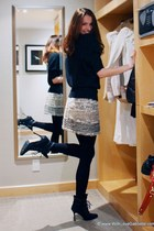 Manolo Blahnik boots - Julie & Jack sweater - Mango skirt - Secret stockings