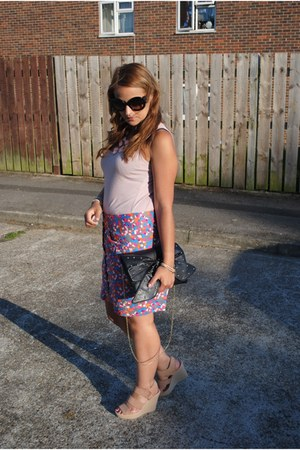 Miss Selfridge bag - Vero Moda skirt - Topshop wedges - warehouse top