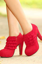 Faux Suede Platform Ruffles Red High Heels