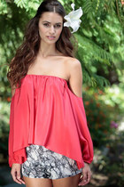 Puff Sleeves Off Shoulders Strapless Blouse - 2