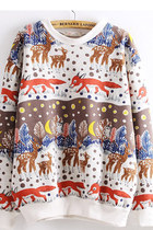 Deer & Fox Print Colorful Sweatshirt - 1