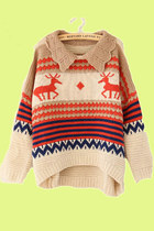 Deer & Stripes Lovely Collar Beige Sweater