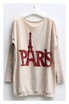 Paris Eiffel Tower Print Batwing Sleeves Sweater