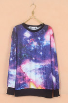 Galaxy Print Long Sleeves Purple Sweatshirt