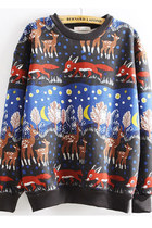 Deer & Fox Print Colorful Sweatshirt - 2