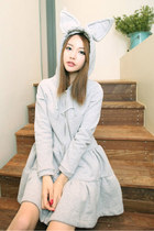 Lovely Rabbit Ears Swing Hem Light Gray Hoodies