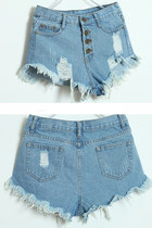 High Waist Ripped Jeans Denim Shorts - Light Blue