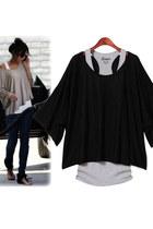 Batwing Sleeves Loose Blouse T-shirt & Tank Vest 2pcs Set - Black