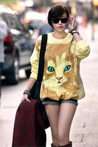 Cat Face Print Over-sized Yellow Sweatshirt