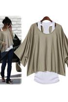 Batwing Sleeves Loose Blouse T-shirt & Tank Vest 2pcs Set - Khaki