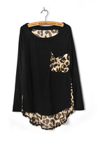 Black Leopard Pocket & Chiffon Back Irregular Hem T-shirt