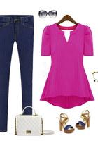 V-neckline Short Sleeves Slim Chiffon Top - Hot Pink