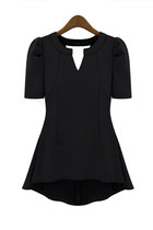 V-neckline Short Sleeves Slim Chiffon Top - Black
