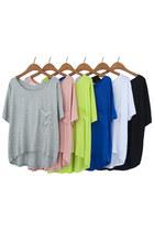 Draped Pocket 1/2 Sleeves High Low Hem Loose T-shirt