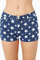 Stars Print High Waist Denim Shorts