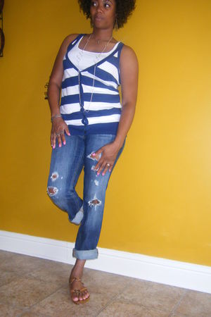 Old Navy shirt - Express jeans