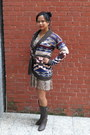 Brown-macys-boots-snakeskin-h-m-dress-tribal-forever-21-sweater