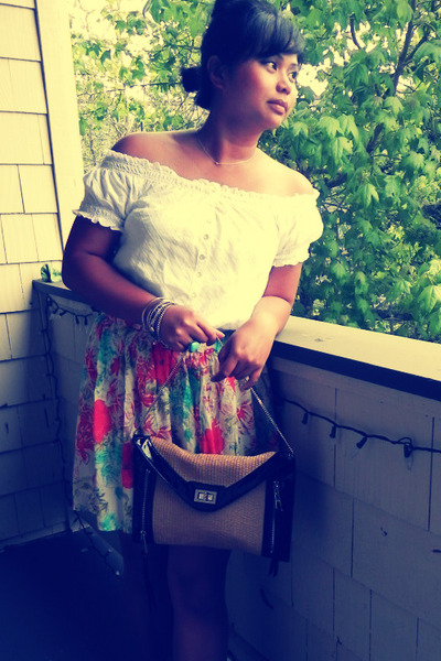 clutch r&em bag - coral floral skirt Forever 21 skirt - white off shoulder unkno