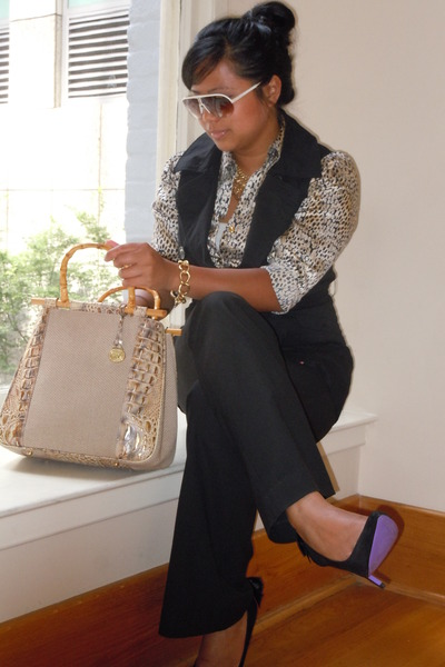 summer tote brahmin bag - carrera sunglasses - silk thrifted blouse