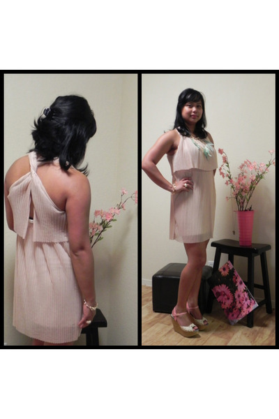 beige pleated H&M dress - light pink floral print Bakers wedges - Forever 21 acc