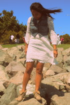 white lace Nasty Gal dress - Local boots - denim Forever 21 vest