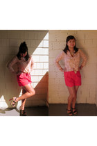 red Urban Outfitters shorts - peach thrifted blouse - black wooden heels Jessica