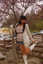 denim shorts unknown brand shorts - knee high socks Charlotte Russe socks - modc