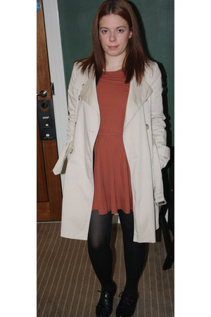 coral Topshop dress - beige Topshop jacket - black asos flats
