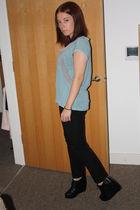 blue Forever 21 top - black Gap pants - black Forever 21 shoes