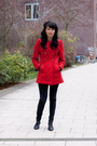 black pants - black shoes - red coat
