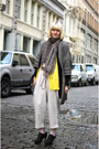 gray coat - black cardigan - beige pants - yellow cardigan - black shoes