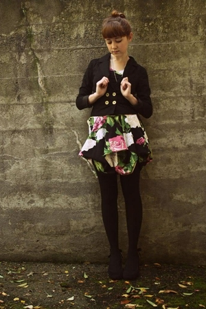 black Betsey Johnson dress - black H&amp;M jacket - black Walmart tights - black Urb