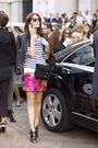 white t-shirt - pink skirt - black jacket - black shoes