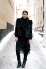 black coat - black dress - black leggings - black boots