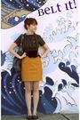 black coat - white dress - brown belt