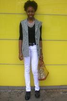 silver vest - black shirt - white pants - black belt - black shoes