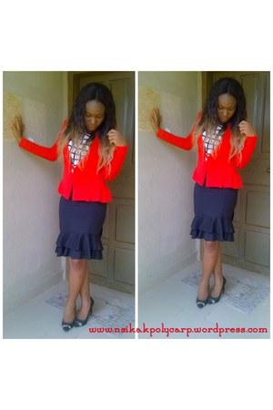 black Zara shoes - red American Apparel blazer - navy Topshop skirt