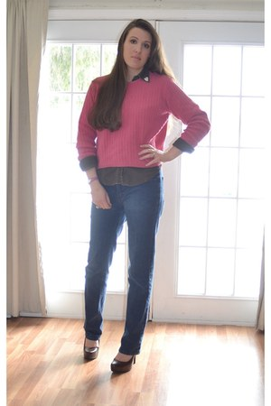 hot pink vintage sweater - blue Jag jeans - dark brown vintage shirt