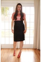 salmon made by me top - black made by me skirt