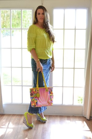lime green Old Navy blouse - bubble gum Candy Crush bag