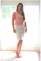 pink michael antonio heels - white embroidered Antonio Melani skirt