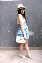 brown Valleygirl hat - blue Times Square dress - white Valleygirl belt - beige a