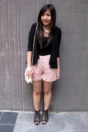 pink mirror asos shorts - black cut-out asos shoes - pink quilted asos