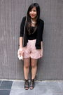 White-forever-21-necklace-black-forever-21-cardigan-pink-asos-shorts-pink-