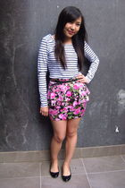 white unknown brand top - pink Times Square skirt - black Femme belt - Sportsgir