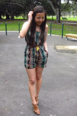 green Forever 21 dress - yellow Forever 21 necklace - brown thrifted belt - brow