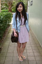 purple Forever 21 dress - blue bardot jacket - brown Forever 21 bag