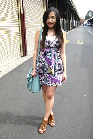 purple Forever 21 dress - green Forever 21 bag - brown asos shoes